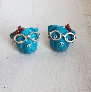 True 1980s vintage blue Bulldog with bow earrings